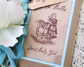 Alice in Wonderland Guest Book with Vintage Style Flower Pen - Sign Me tag - wedding, baby shower, party