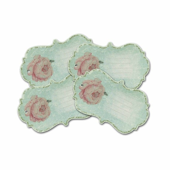 Cabbage Rose Gift Tags, Pink Rose Gift Tags, Green and Pink Tag, Cottage Chic,  Bridal Shower Gift Tag, Bridesmaid Gift Tag,