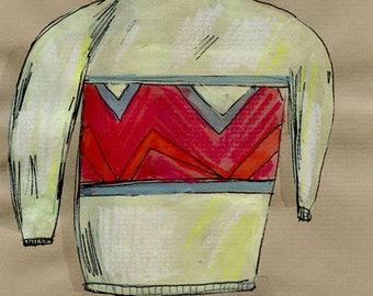 Sweater, drawing on paper