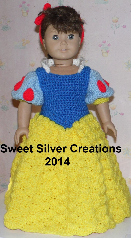 Free Crochet Pattern For Snow White Dress : 18 inch American Girl Crochet Pattern Snow White
