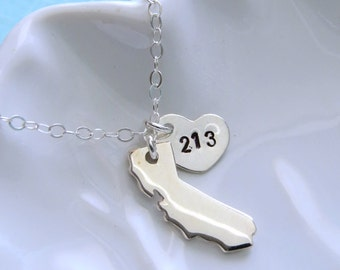 State of California Necklace with Area Code Heart Sterling Silver Los Angeles Southern California Northern California California Love