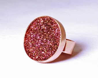 Copper Ring Titanium Druzy Ring Bezel Ring Cocktail Ring Adjustable Ring Druzy Jewelry FD-R-105-CP/c