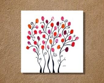 Gum Drop Finger Print Flowers Watercolor Painting 12x12