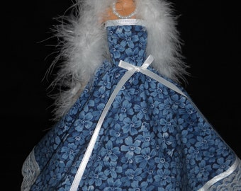 3 Piece Outfit Barbie Doll Dress Handmade Blue Floral Gown with Boa and Necklace