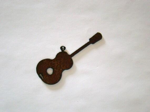 Guitar Recycled Metal Pendant Cutout