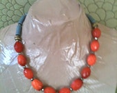 POPPY orange and blue statement necklace