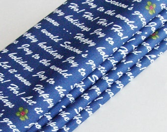 Holiday Wishes Napkins / Holly and White Text on Navy Blue Napkins / Chic Winter Holiday Decor / Set of 4 / Unique Gift Under 40