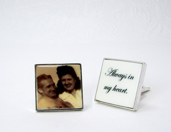 Sterling Silver Cuff Links Personalized with an Inlaid Photo Tile - A great gift for your Groom - A12