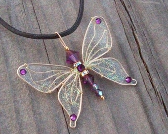 Butterfly Necklace - Birthstones & 28 More Swarovski Colors - On Leather Cord