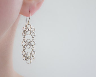 Silver Chandelier Earrings, Argentium Sterling Silver Chainmaille Dangle Earrings, Elegant Wedding Special Occasion Intricate Nickel Free