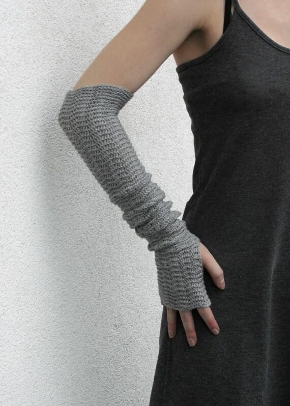 Fingerless Gloves Merino Grey Arm Warmers  Gray Mittens Mitaines Armstulpen pure merino wool