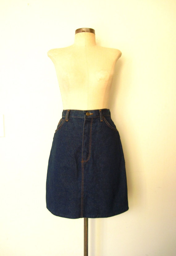 70s blue jean skirt 70s denim skirt wrangler by