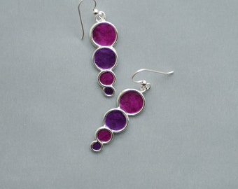 Royal Purple Dangle Earrings, Long Bubble Earrings, Paper Jewelry, Jewel Tone Earrings