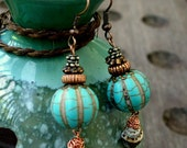 TURQUOISE - Earrings, Shell, Copper, Wrap, Casual, Simple, BLUE, Ear, Cone Shell, Pierced, Beach