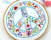 Peace Sign Hippie Summer Hand Embroidery PDF Pattern