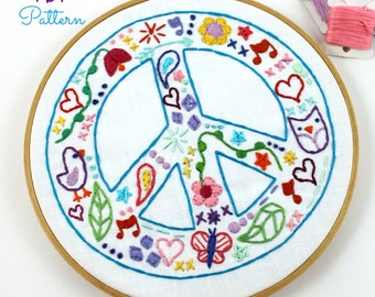 Peace Sign Hippie Summer Hand Embroidery Digital Pattern