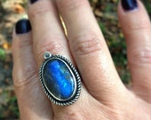 Labradorite Ring. Sterling Silver Oval Ring. One of a Kind Statement Ring. Metalwork Gemstone Ring. Size 7