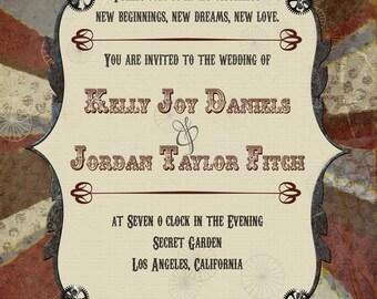 Steampunk Stripes Wedding Invitations