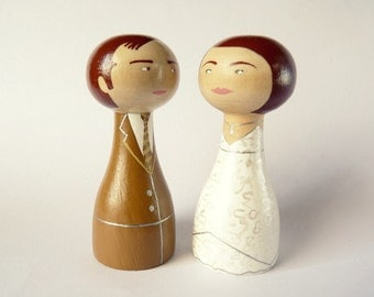 Unique wedding cake topper Personalized wooden peg doll art hand painted custom bride groom beige brown