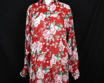 Guess Red Floral Roses Print Top S M 90s
