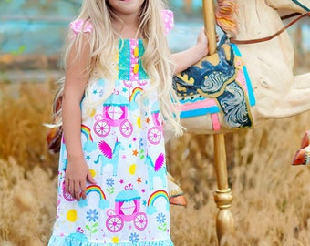 unicorn party dress - rainbow dress - princess dress