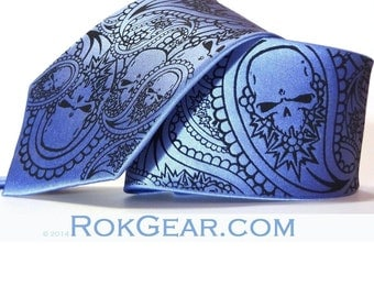 5 Paisley skull wedding neckties custom colors available print to order