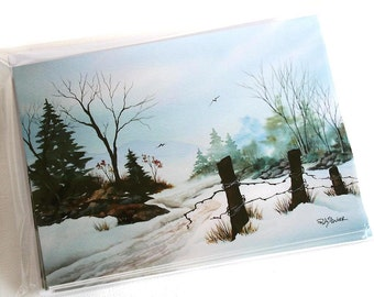 NOTE CARDS - Country Road Winter - Set of 10 - Blank Inside