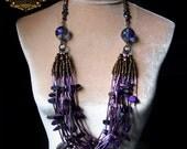 Tanzan Aura Quartz Statement Necklace Purple Iridescent Tribal Faerie Artisan Jewelry Pagan Reiki Amulet Bugle Seed Bead by Spinning Castle