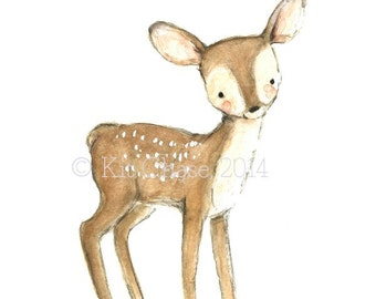 "Children's Art -- ""FAWN"" -- Archival Print"