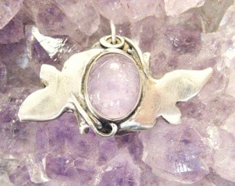 Love Birds pendant with purple amethyst, peace doves pendant, symbolic pendant, spiritual jewelry