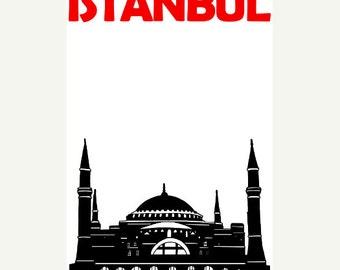 Istanbul Poster (12x18 / 13x19) Istanbul Turkey Art Poster