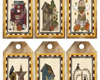 Primitive Tags Crows and Pumpkins Printable Digital Collage Sheet Image 1227