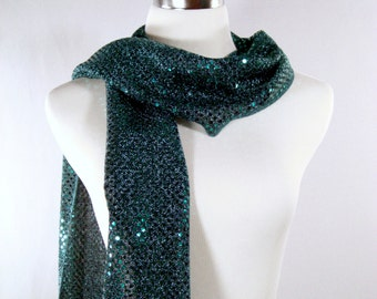 Holiday - Party Scarf -  Scarf - Teal Sequin Scarf - Shiny Teal Jade Sequin Scarf - Dressy Long Scarf - Teal Sequin Wrap