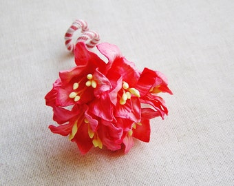 Coral red Lilly Millinery flower Corsage Pin -wedding corsage boutonniere, paper jewelry, decoration, embellishment