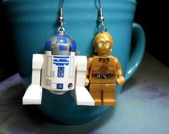 R2D2 and C3PO Combo Earrings or Ornament Set You Pick