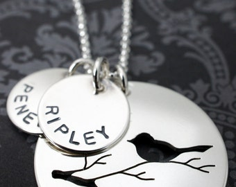 Personalized Mother's Necklace - Mama Bird Nest w/ Two Little Eggs - Mother Bird on Branch Pendant with Children's Names Sterling Silver