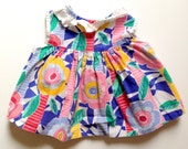 Vintage Thomas Floral Ruffle Collar Swing Top 0 - 6 Months Pink Green Blue White