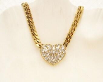 Rhinestone Heart Pendant Necklace  Choker N5096