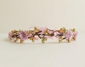 Gold Headpiece, Wedding Flower Head piece, Gold tiara crown, Boho Bridal Crown, Bridal Hair Accessories, Purple Flower Hair Circlet