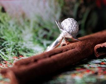 Sterling silver crochet flower ring