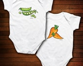 TWINS - We Go Together Like Peas and Carrots - Funny Baby Gift