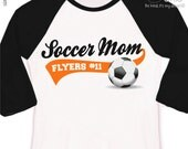 Soccer mom shirt - custom with name and team name personalized colorblock raglan mom soccer shirt