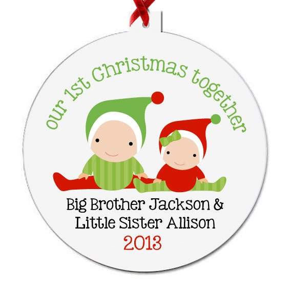 Ordinary Big Brother Christmas Ornament Part - 2: Babyu0027s First Christmas Ornament Personalized For The Whole Family - Brothers  And Sisters And All PBFCWSO
