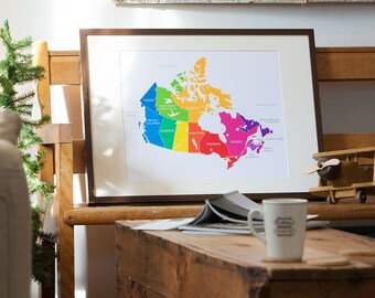 Map of Canada in Bright Colours