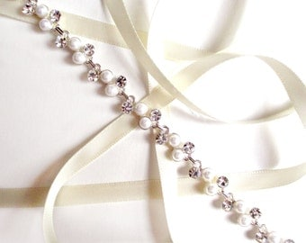 Pearl and Rhinestone Bridal Headband or Thin Belt - Wedding Headband - Satin Ribbon Tie - Silver and Crystal - Extra Long Wedding Dress Belt