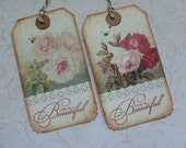 Vintage style Floral gift tags shabby chic pink roses yellow roses hand stamped life is beautiful all occasion tags - set of 6