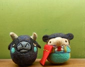 Needle Felted Wool Matador and Bull Toy Set Made to Order