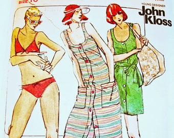 1970s Bikini Pattern Designer JOHN KLOSS Misses size 16/38 Womens Swim Suit Pattern, Cover Pattern, Vintage Sewing Pattern