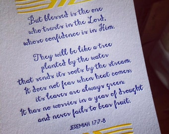 Box Set of 6 Bible Verse (Jeremiah 17:7-8) Letterpress Greeting Cards (Various Colors Available)