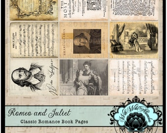 Romeo and Juliet Classic Book Pages Digital Collage Sheet, ACEO Size, ATC, Printable Book Pages, Gift Tags